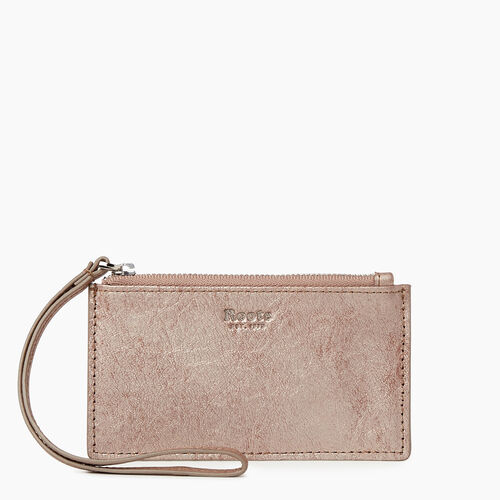 Roots-Leather Our Favourite New Arrivals-Medium Card Wristlet-Champagne-A