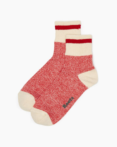 Roots-Women Socks-Womens Cotton Cabin Ankle Sock 2 Pack-Cranberry-A