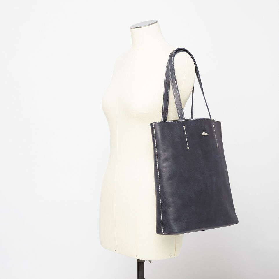 Roots-Winter Sale Leather-Large Downtown Tote Tribe-Dark Navy-B