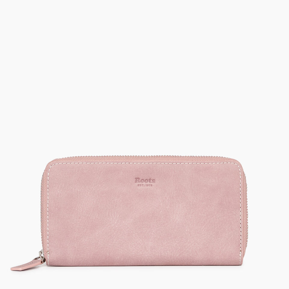 Roots-Women Wallets-Zip Around Clutch Tribe-Woodrose-A