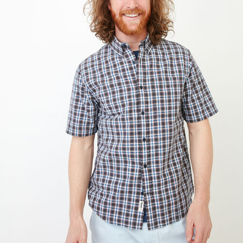 Roots-New For June Plaids-Windermere Short Sleeve Shirt-Dark Denim Blue-A