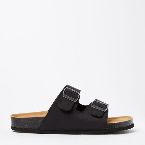 Roots-Footwear Men's Footwear-Mens Natural 2-Strap Sandal-Black-A