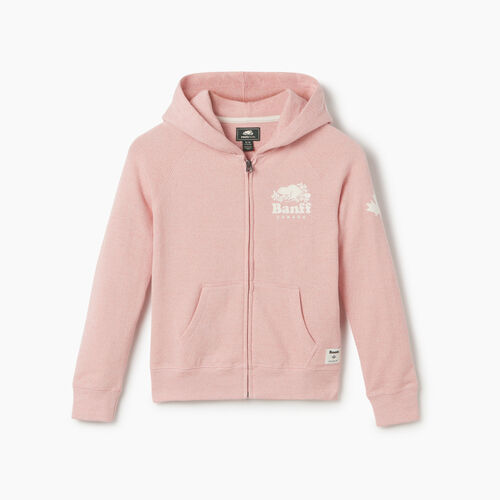 Roots-New For May City Collection-Girls Banff Ski City Full Zip Hoody-Dusty Blush-A