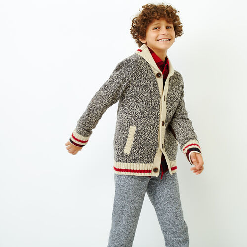 Roots-Kids Categories-Boys Roots Cabin Shawl Cardigan-Grey Oat Mix-A