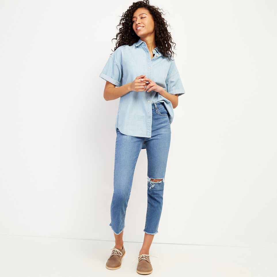 Roots-Women Clothing-Clermont Chambray Shirt-Chambray Blue-B