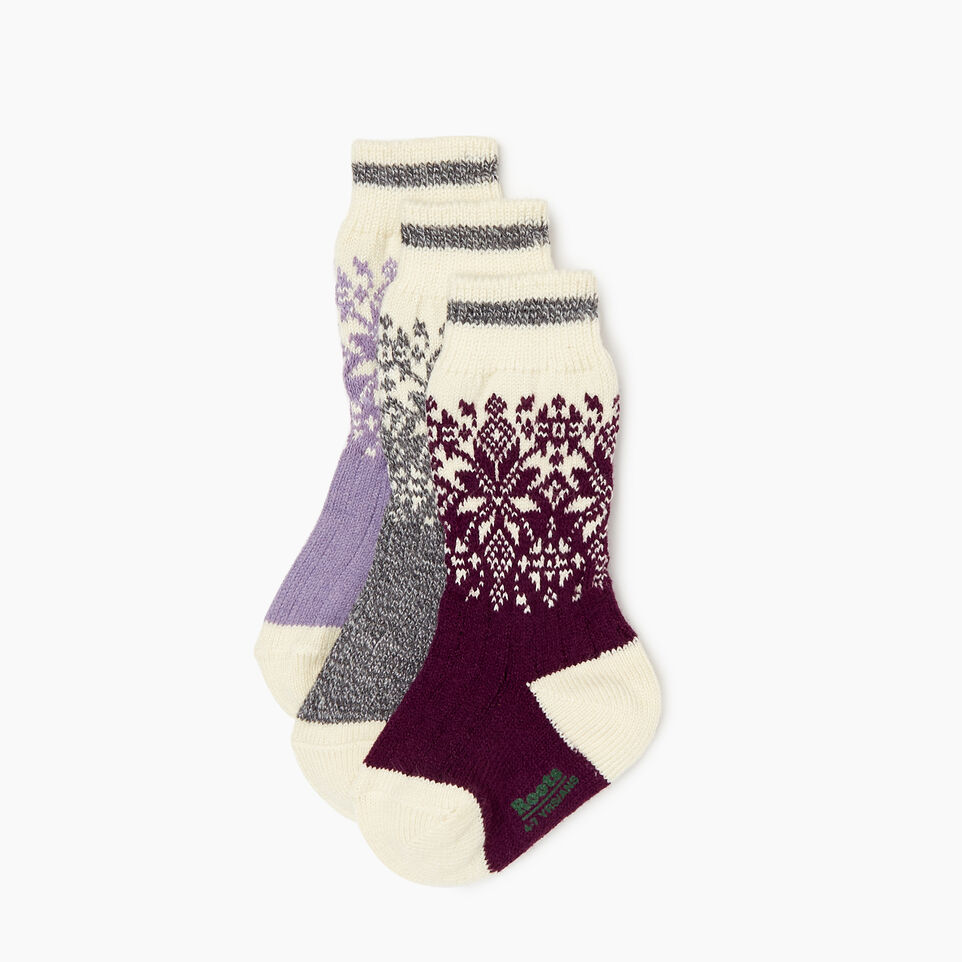 Roots-Kids Girls-Kids Elsa Cabin Sock 3 Pack-Purple-A