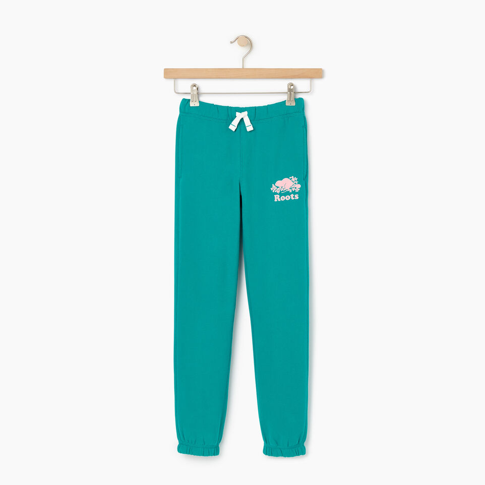 Roots-Kids New Arrivals-Girls Original Roots Sweatpant-Dynasty Turquoise-A