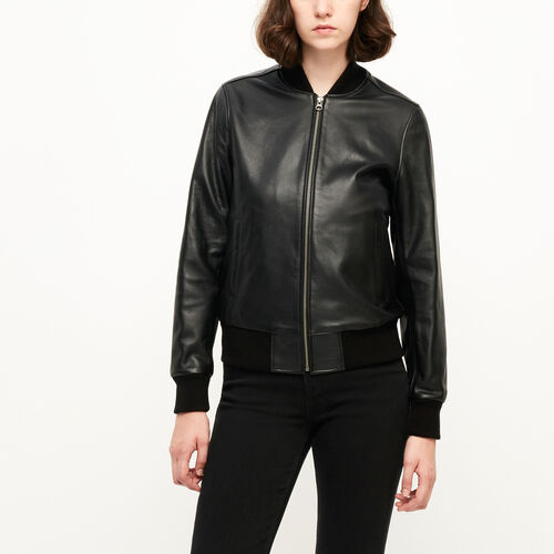 Roots-Women Leather Jackets-Commander Jacket Lake-Black-A