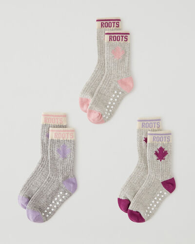 Roots-Kids Toddler Boys-Toddler Maple Sock 3 Pack-Pink Mix-A