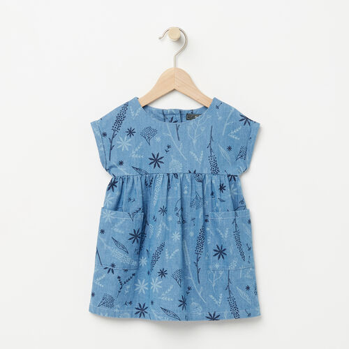Roots-Kids Bestsellers-Baby Floral Denim Dress-Denim Blue-A
