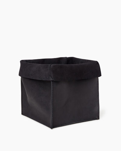 Roots-Articles En Cuir Maison Roots-Grand panier en cuir Tribe-Noir De Jais-A