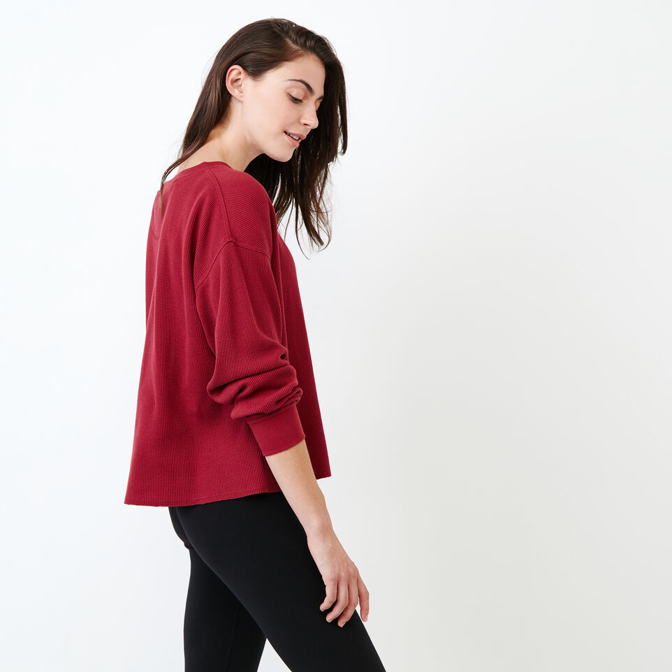 Roots-Women Clothing-Kinuso Waffle Top-Tibetan Red-C