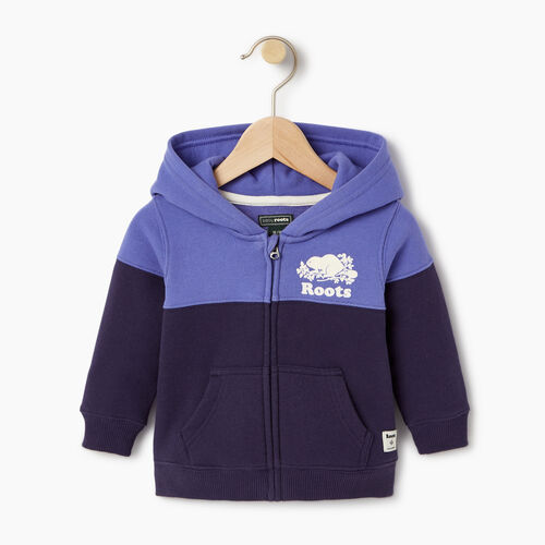 Roots-Kids Sweats-Baby Colour Block Full Zip Hoody-Violet Storm-A