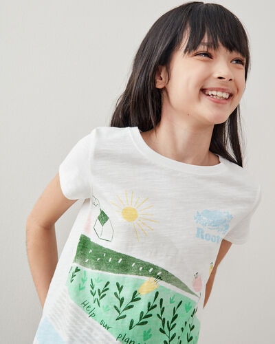 Roots-Kids Girls-Girls Meadow Print T-shirt-Egret-A