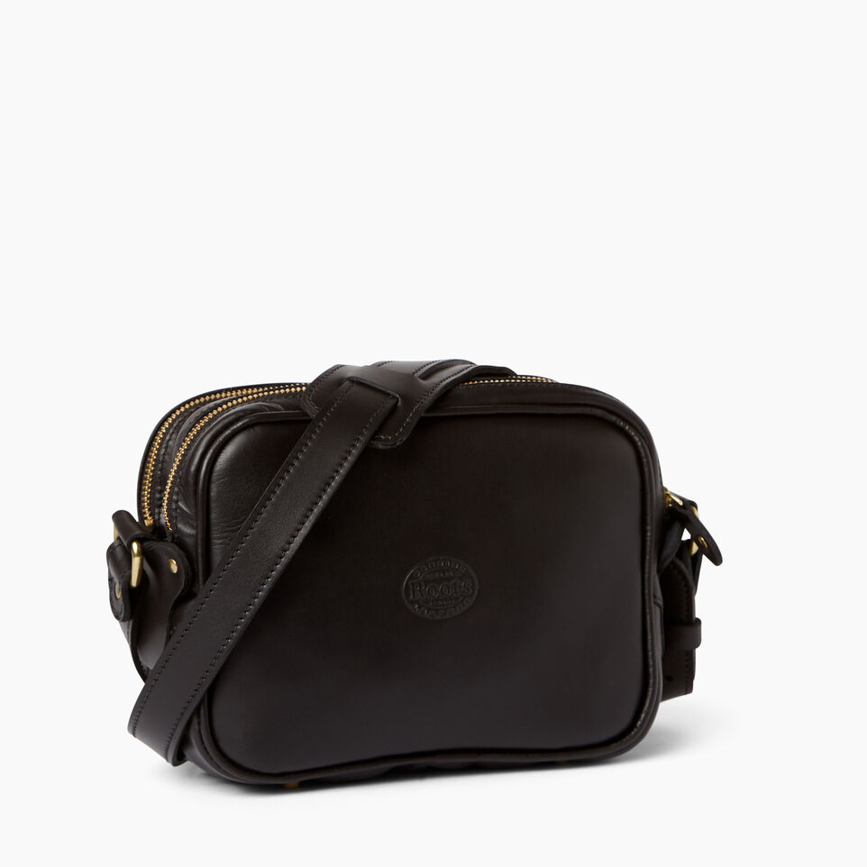 Roots-Leather  Handcrafted By Us Handbags-Classic Camera Bag-Black-C