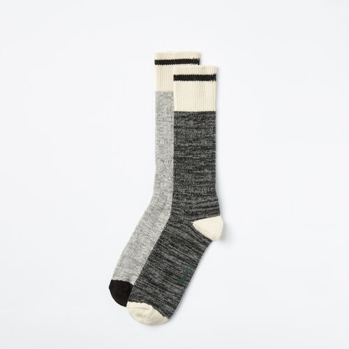 Roots-Men Socks-Mens Cotton Cabin Sock 2 Pack-Black Mix-A