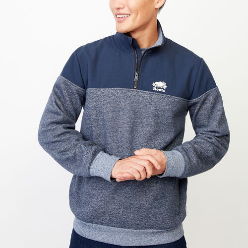 Roots-Men Categories-Mt. Odin Half Zip Sweatshirt-Navy Blazer Pepper-A