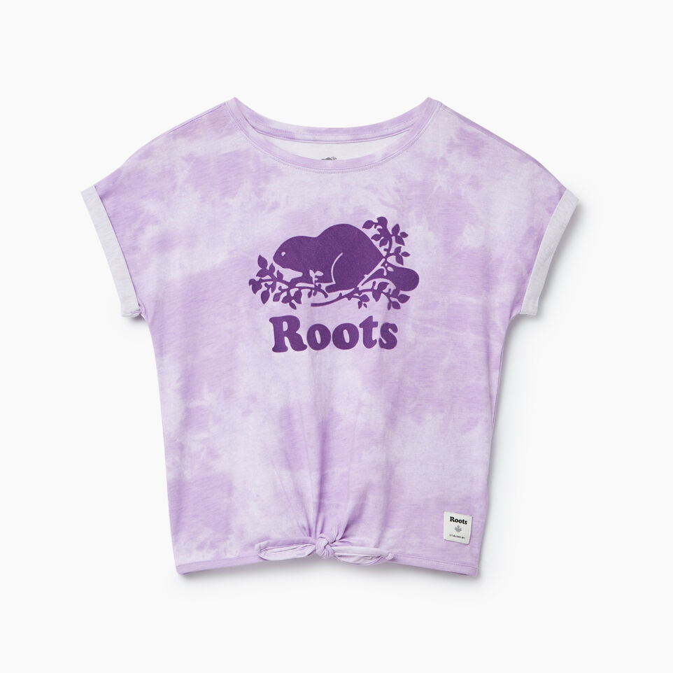 Roots-Kids New Arrivals-Girls Tie T-shirt-African Violet-B
