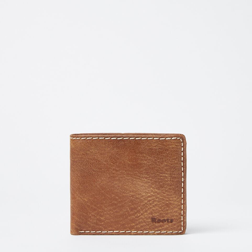 Roots-Leather Men's Wallets-Mens Slimfold Wallet With Coin Pocket Tribe-Natural-A