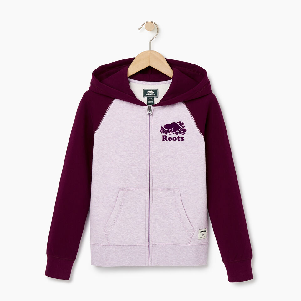 Roots-Kids New Arrivals-Girls Original Full Zip Hoody-Lupine Mix-A