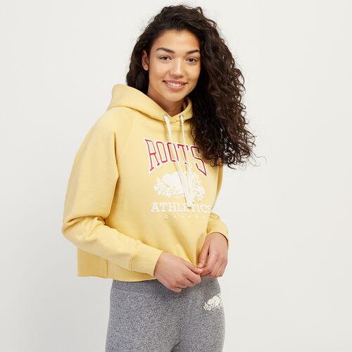 Roots-Women Categories-RBA Cropped Hoody-Canary Yellow-A