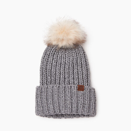Roots-Women Categories-Chenille Pom Pom Toque-Salt & Pepper-A