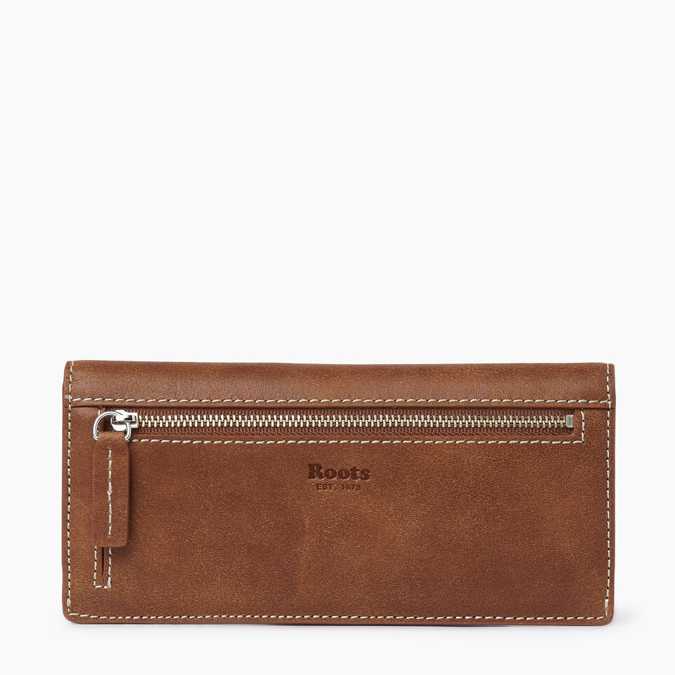 Roots-Women Clothing-Riverdale Slim Wallet-Natural-B