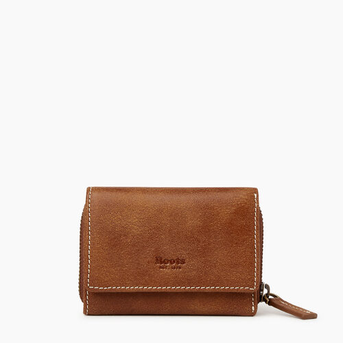 Roots-Women Leather Accessories-Small Trifold Clutch-Natural-A