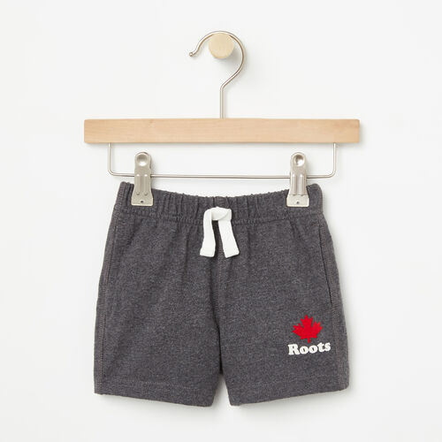 Roots-Kids Bottoms-Baby Maple Jersey Shorts-Charcoal Mix-A