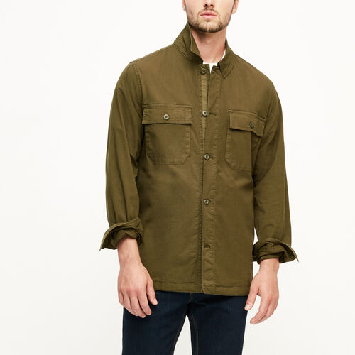 Roots-Men Outerwear-Kingston Overshirt-Fatigue-A