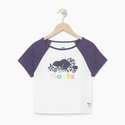 Roots-Clearance Kids-Girls Cooper Beaver Raglan Top-Eclipse-A