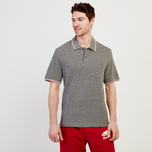 Roots-Men New Arrivals-Cabin Polo-Salt & Pepper-A