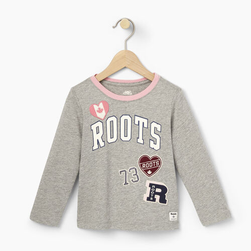 Roots-Winter Sale Toddler-Toddler Roots Patches T-shirt-Grey Mix-A