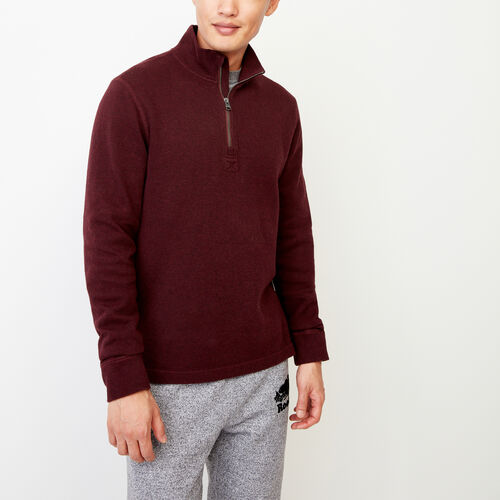 Roots-Men Categories-Flatknit Rib 1/4 Zip-Crimson Mix-A