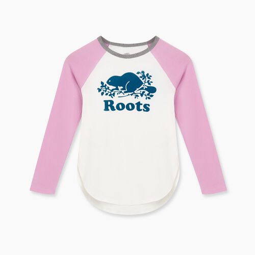 Roots-Kids Tops-Girls Cooper Baseball T-shirt-Orchid-A