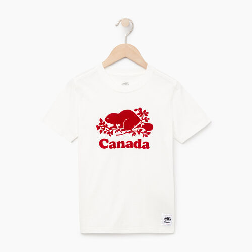Roots-Kids Canada Collection-Boys Canada T-shirt-Ivory-A