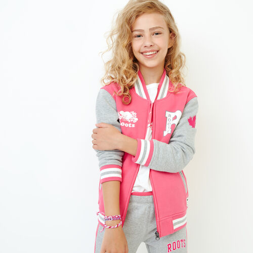 Roots-Kids Our Favourite New Arrivals-Girls 2.0 Awards Jacket-Pink Flambã‰-A