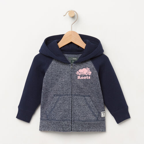 Roots-Clearance Baby-Baby Original Full Zip Hoody-Navy Blazer Pepper-A
