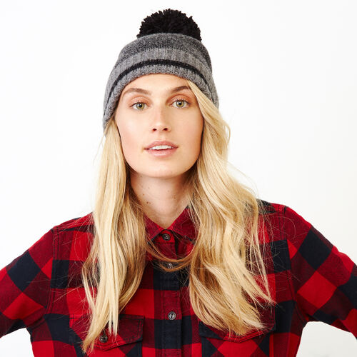 Roots-Women Categories-Roots Cabin Pom Pom Toque-Black Mix-A