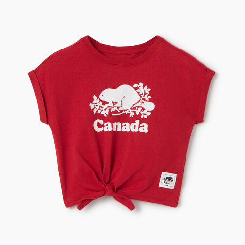 Roots-Kids Baby-Baby Canada Tie T-shirt-Sage Red-A