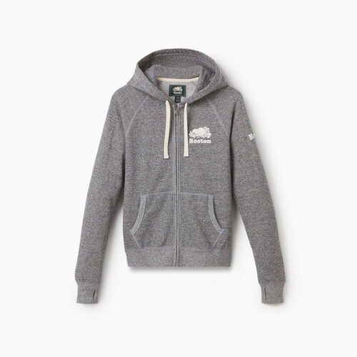 Roots-Sweats Women-Boston Full Zip Hoody - Womens-Salt & Pepper-A