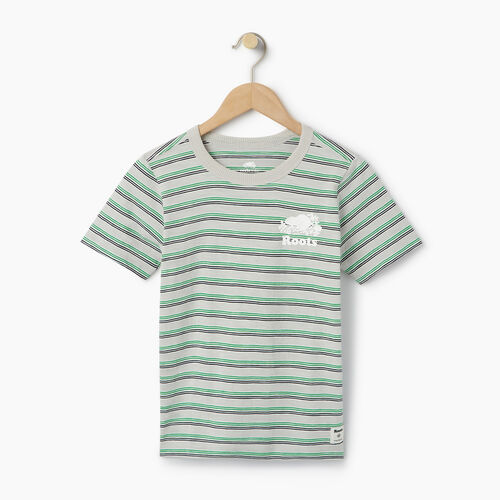 Roots-Clearance Kids-Boys Cooper Stripe T-shirt-Vapour Grey-A