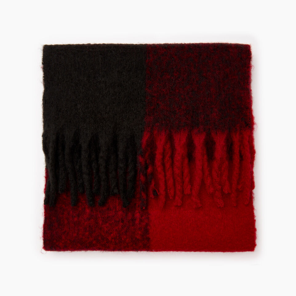 Roots-Women Scarves & Wraps-Park Plaid Fluff Scarf-Red-B