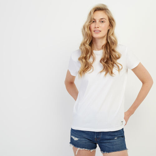 Roots-Women Tops-Essential Crew T-shirt-White-A