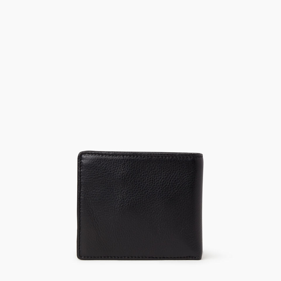 Roots-Leather Wallets-Mens Slimfold With Coin-Black-B