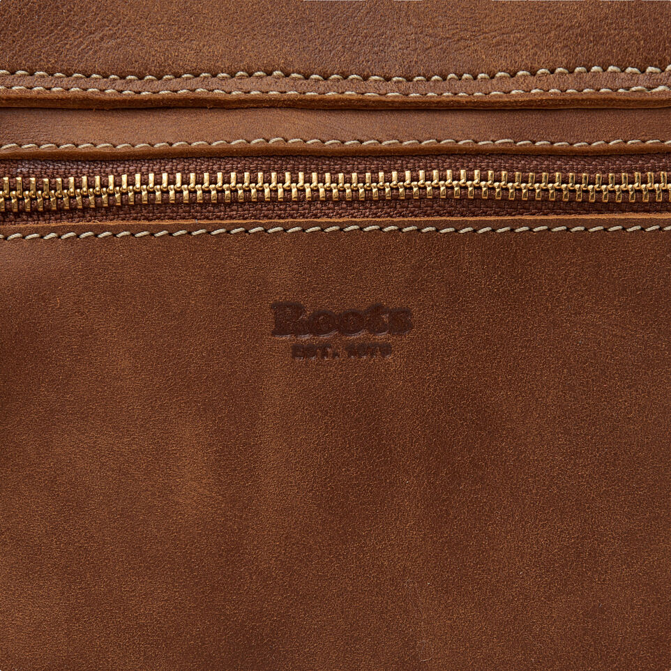 Roots-Leather Handbags-Canmore Crossbody Tribe-Natural-E