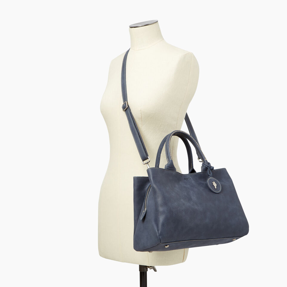 Roots-Leather Categories-Mont Royal Bag-Navy-B