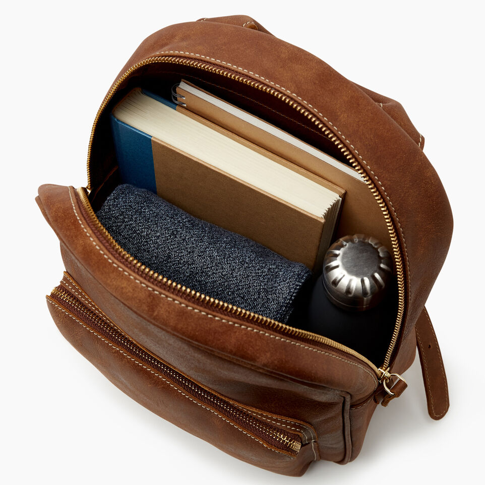 Roots-Leather Backpacks-Chelsea Pack Tribe-Natural-D