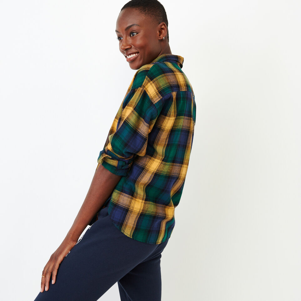 Roots-Women Categories-Box Cut Flannel Shirt-Varsity Green-C