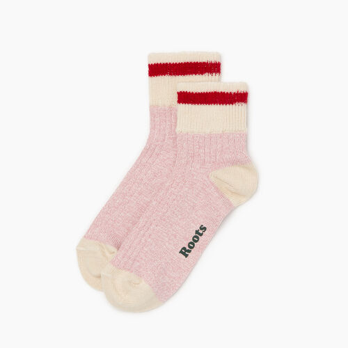 Roots-Women Accessories-Womens Cotton Cabin Ankle Sock 2 Pack-Pink-A